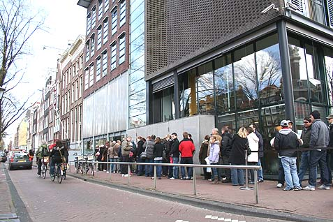 "The Anne Frank Museum in Amsterdam, pictured above, is run by the Anne Frank Foundation, which wrote in a report, ""Israel pushes Palestinians economically into a corner and humiliates them psychologically."""