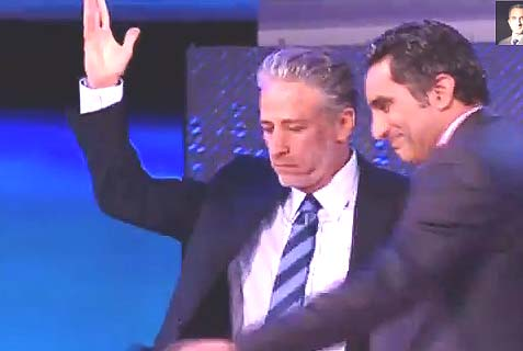 Bassem Youssef with his guest and idol Jon Stewart in Cairo last June. Watch the 20 min. video.