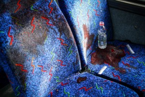 Bus seat stained with blood of IDF soldier