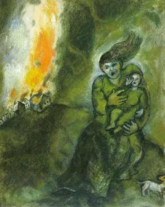 Fire in the Snow (1942); Gouache on paper by Marc Chagall. Collection: Amy and Eric Huck, Lewisberry, Pennsylvania.