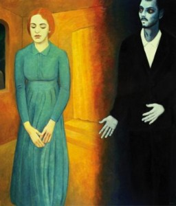 The Dybbuk: Leah and Channon, 42 x 36, oil on canvas by Alan Falk Courtesy the artist