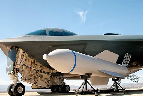 This is an image of the B-2 stealth bomber 15-ton bunker buster bomb that Iran may be seeing close-up if it gets its hands on a nuclear weapon.