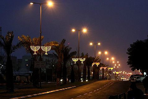 The Lights of Hanukkah on the streets of Jerusalem.