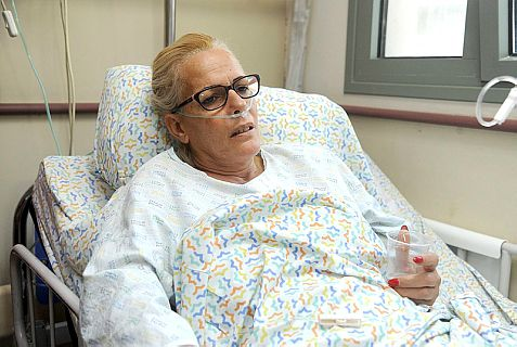 Sariya Ofer in her hospital bed. Her husband was killed by two Palestinian Authority terrorists.