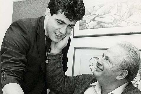 Yair Lapid with his late father Tommy in the 1980s.