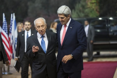 Shimon Peres meeting with John Kerry. Some claim Peres is running a shadow government on foreign policy.