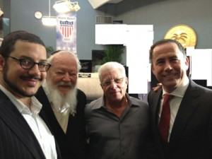 The new mayor of Miami Beach was recently sworn into office at the city's commission chambers. L to R: Yitzie Rosenberg, Rabbi Pinchas Weberman, Jack Benveniste and Mayor Phillip Levine.