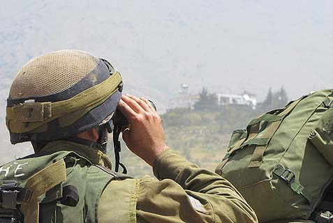 IDF soldiers outside Majdal Shams in the Golan Heights.
