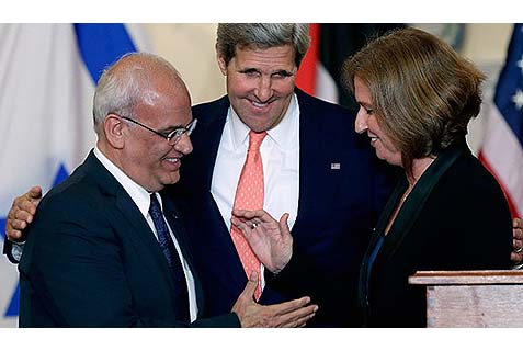 Secretary of State Kerry, with negotiators Saeb Erekat and Tzipi Livni, brings a plague on both their houses