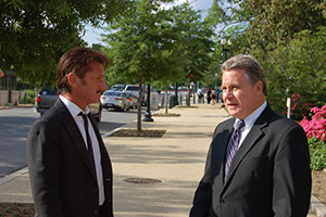 Actor Sean Penn (left) with U.S. Rep. Chris Smith (R-NJ) after Penn testified on the case of Jewish prisoner Jacob Ostreicher at a May 20, 2013 congressional hearing organized by Smith. (Credit: Office of U.S. Rep. Chris Smith)