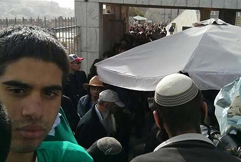 The line outside Temple Mount Sunday morning. Eventually, 36 Jews were blocked from entering on Hanukkah, the day the Temple was retaken from the enemies.