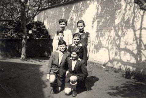 Henri Mozelsio, Joseph Amzel, Manfred Krolick, Gabriel Lehrer, and Maurice Beizunski in an orphanage in Brussels, 1944.