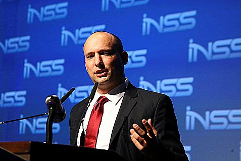 Israeli Minister of Economics Naftali Bennett speaks during the 7th Annual International INSS Conference in Tel Aviv Tuesday.