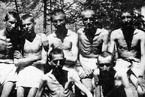 Inmates liberated from the Majdanek camp.