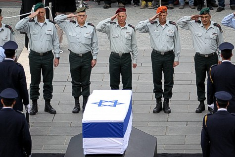 IDF Major-Generals salute Ariel Sharon, as he lays in state at the Knesset.