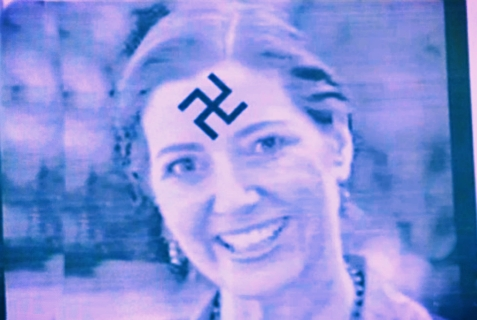 Fliers depicting Oakland Councilwoman Libby Schaaf with a swastika were posted throughout Oakland, California