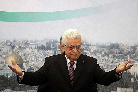 Palestinian Authority Chairman Mahmoud Abbas in a meeting at his Muqata compound in Ramallah, where he rejected both Israel's exclusive rights to Jerusalem and its status as a Jewish state.