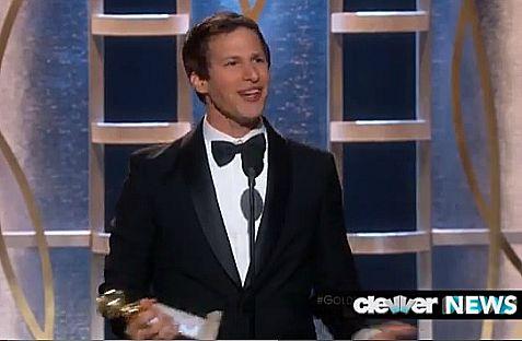 Andy Samberg tuxedo and all, wows his audience with hie impromptu thank you speech after winning the Golden Globes award for best actor.