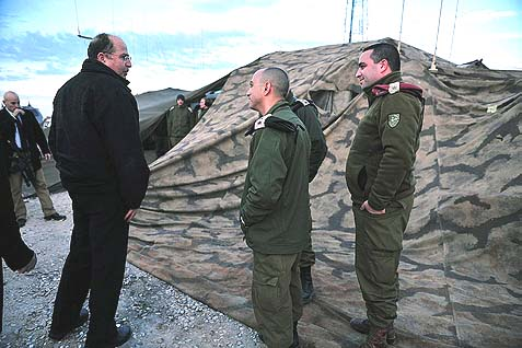 "Defense Minister Moshe ""Bogie"" Yaalon (L), seen here during a drill in the Binyamin Regional Council last December 25, is the one true enemy of the proposed American security plan for Israel. Because he sees it's worthless and says so. And so, Yaalon has been in the State dept. cross-hairs since the start of the talks."