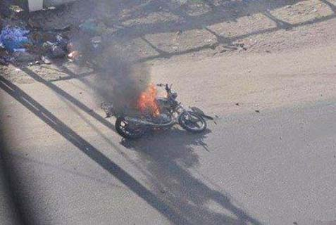 The motorcycle hit by an Israeli air strike.