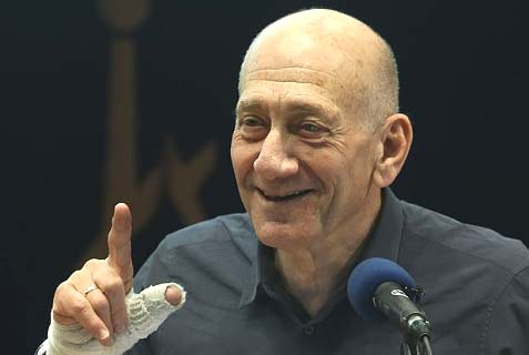Ehud Olmert speaking at Hebrew University Monday night.