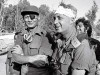 The late Arik Sharon as I would like to remember him, leading the brigade that crossed over to the Egyptian side of the Suez Canal during the 1973 Yom Kippur War (here with  Defense Minister Dayan).