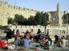 The Tower of David seen-in the background from where tourists gather a the Jaffa Gate entrance of Jerusalem's Old City