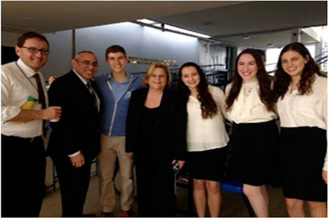 Members of Hebrew Academy JUMP team and guest speakers, left to right: Hebrew Academy teacher Rabbi Lefkowitz; Israeli Consul General Chaim Shacham; student Jacob Mitrani; Congresswoman Ros-Lehtinen; students Alix Klein, Jacqueline Olemberg and Ariella Stein.
