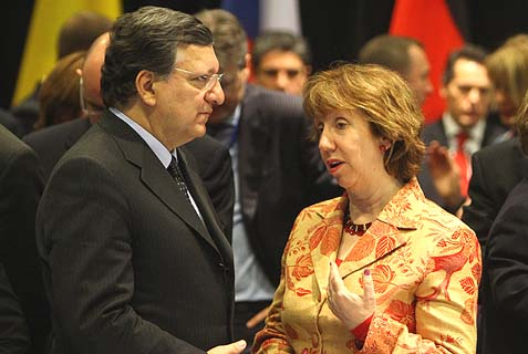 "European Commission President Jose Manuel Barroso (seen with the ""Baroness"" Catherine Ashton) threatens that an independent Scotland would find it ""difficult, if not impossible"" to gain EU membership. Democracy? We don't need no stinking democracy…"