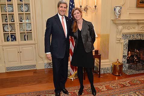 UN Ambassador Samantha Power with Secretary of State John Kerry. Both are reputed to be highly intelligent, and so one must wonder how intelligent is the source of that information.
