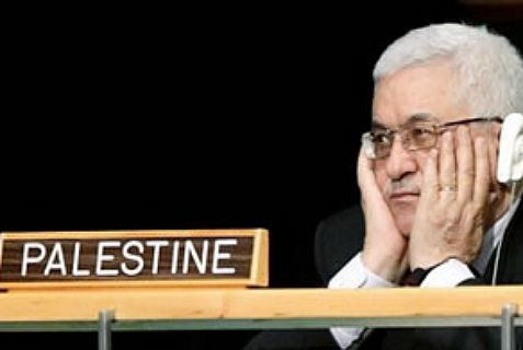 "Is ""the word is the thing""? Abbas sits behind ""Palestine"" sign at the United Nations."