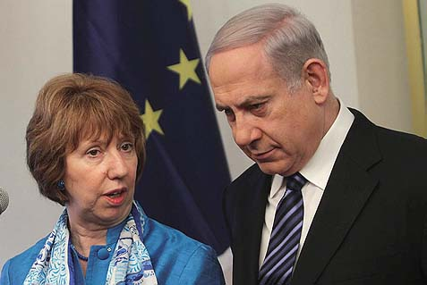 Prime Minister Benjamin Netanyahu in discussion with EU Foreign Policy Chief Catherine Ashton in Jerusalem. In light of new revelations about the massive, widespread corruption across the EU, should Bibi have gone back to count the silverware?