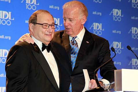 Vice President Joe Biden embraces ADL national director Abraham Foxman at the group's centenary gala.