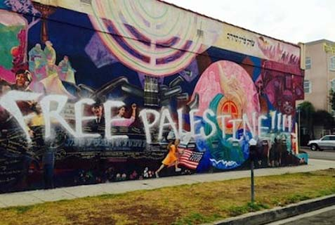 Graffiti defaces Jewish-themed mural in Los Angeles.