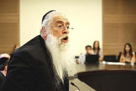 United Torah Judaism MK Meir Porush doing battle during a session of the Special Committee for the Equal Sharing of the Burden. He insists Netanyahu gave him his word there won't be criminal charges against Haredi draft dodgers. If I had a dollar for every time Netanyahu gave his word and took it back…