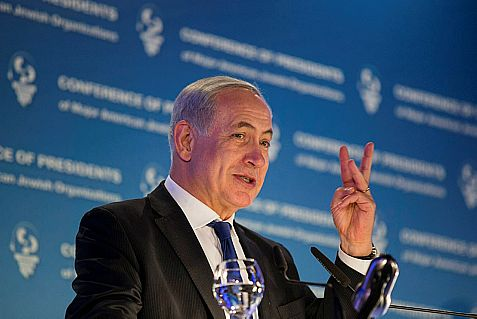 Israel's Prime Minister Benjamin Netanyahu gestures as he speaks during the Conference Of Presidents of Major American Jewish Organizations in Jerusalem.