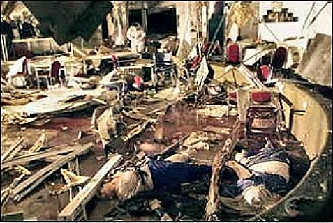 Four Jerusalem Arab terrorists planned to carry out a massacre at a wedding hall. Above: Aftermath of the Passover massacre at the Park Hotel in Netanya in 2002.