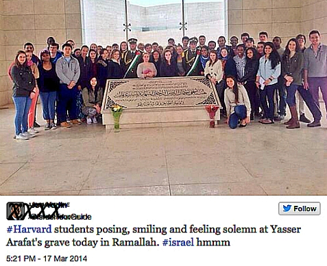 Harvard Students on Harvard Hillel and Boston CJP sponsored trip to Israel, visiting Arafat's grave. March 17, 2014.