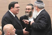 Minister of Education Rabbi Shai Piron (L) with UTJ MK Moshe Gafni (C) and Jewish Home Deputy Minister of Religious Services Rabbi Eli Ben Dahan.