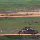 IDF tank along Gaza Strip border.