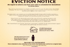 Mock Eviction Notice shoved under the doors of students' rooms in predominantly Jewish NYU dorm by NYU SJP.