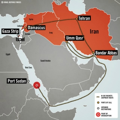 Route for weapons shipment to Gaza from Iran.