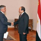 Israeli Ambassador to Egypt Chaim Koren presents his credentials to President Abdel Fattah el-Sisi on Sunday, Sept. 14, 2014, at the presidential palace in Cairo.