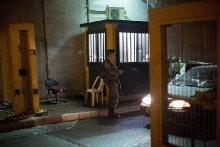 Israeli Border Guard Police officers guard a checkpoint near Rachel's Tomb at the northern entrance to Bethlehem.