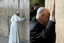 President Rivlin and Pope Francis in separate visits to the Western Wall.