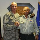 Brig Gen Nitzan Nuriel (R.) with US Air Force Lt. Gen. Craig Franklin, October 17, 2012
