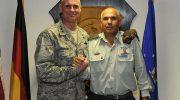 Brig Gen Nitzan Nuriel (R.) with US Air Force Lt. Gen. Craig Franklin, October 17, 2012