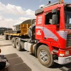 A truck transporting construction materials into the Gaza Strip through the Kerem Shalom crossing.