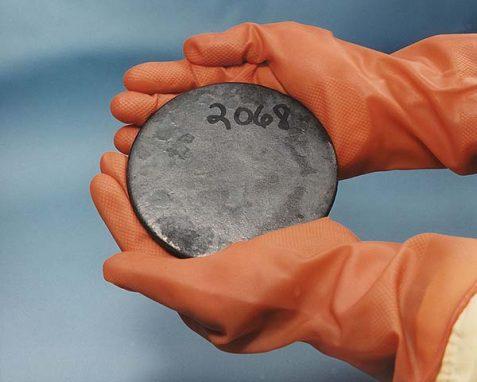 A billet of highly enriched uranium metal
