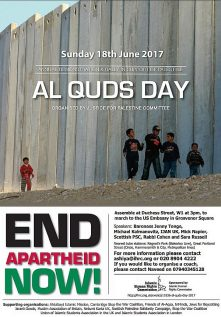 Poster promoting the 2017 Al Quds Day March through the heart of London